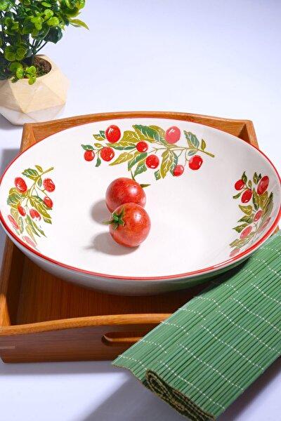 Vişne Desen El Yapımı Yuvarlak Salata Kasesi 26 cm
