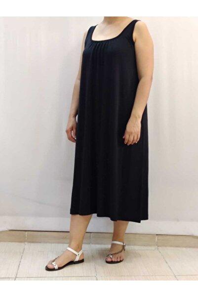 Önü Arkası Büzgülü Askılı Siyah Elbise