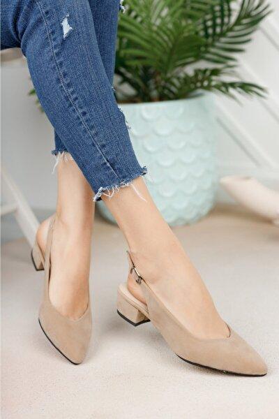 Kadın Ten Süet Arka Açık Ayakkabı
