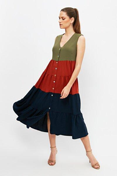 Haki Renk Bloklu Düğmeli Elbise TWOSS21EL0449