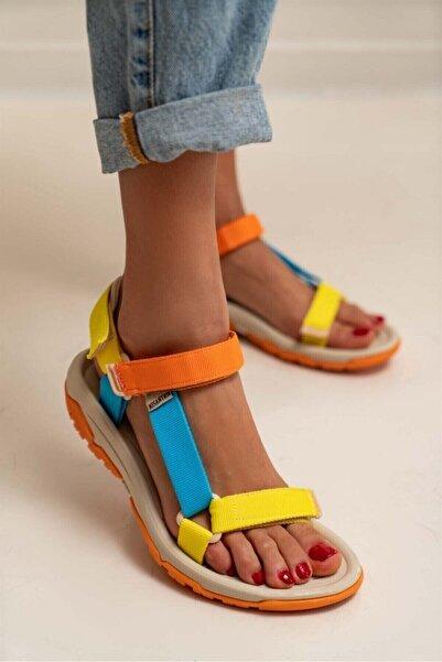 Kadın Sarı Cırtlı Sandalet