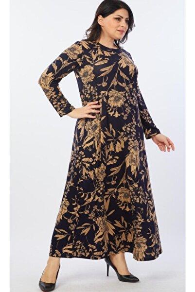 Kadın Lacivert Çiçek Desenli Esnek Viskon Elbise