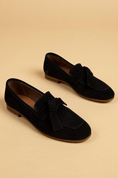 Siyah Kadın Loafer Ayakkabı 01744ZYSLM01
