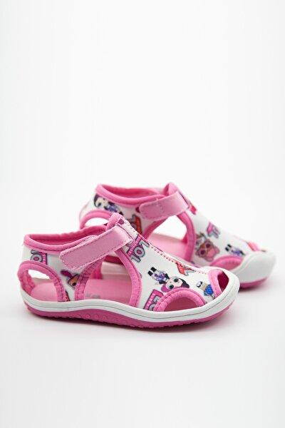 Kız Çocuk Beyaz Pembe Kumaş Sandalet