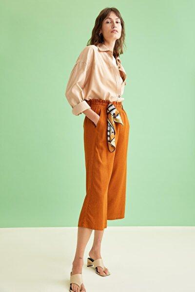 Culotte Elastik Belli Geniş Paça Pantolon