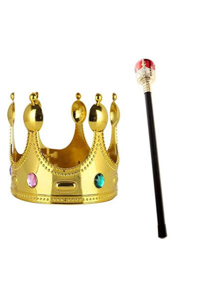 Çocuk Boy Altın Renk Kral Tacı Ve Kırmızı Topuzlu Kral Asası