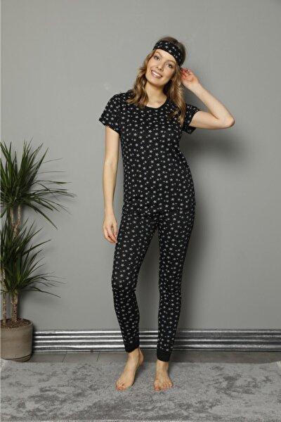 Kadın Siyah Pamuklu Baskılı Kısa Kol Pijama Takım