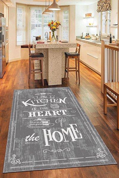 Kaymaz Tabanlı Makinede Yıkanabilir Dekoratif Retro Kitchen Mutfak Halısı Ar345
