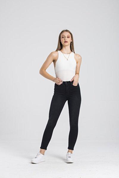 Modafaf Kadın Yüksek Bel Jean Skinny Fit Pantolon Siyah Mira 5723