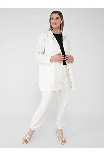 Kadın Ekru Çıtçıt Kapamalı Ceket