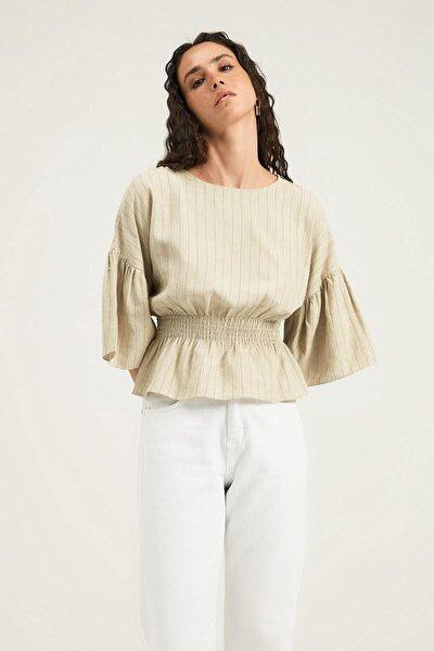 Kadın Naturel Beli Gipeli Çizgili Bluz