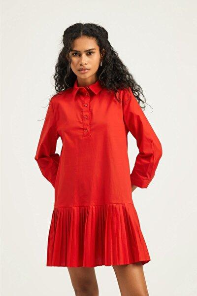 Kadın Kırmızı Piliseli Gömlek Elbise
