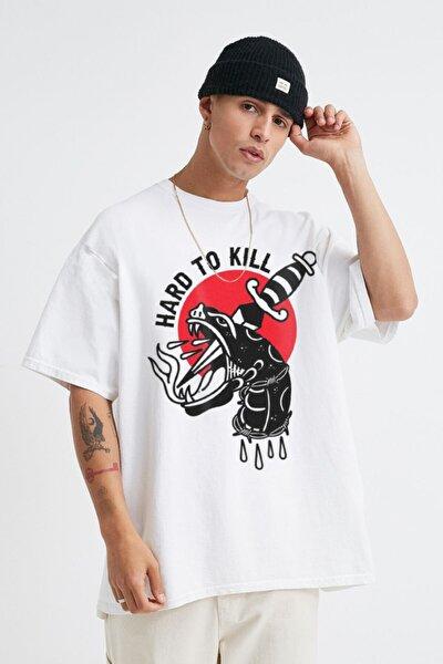Unisex Beyaz Hard To Kill Oversize Tshirt