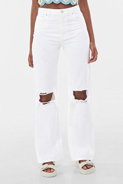 Kadın Beyaz Straight Fit Yüksek Bel Jean