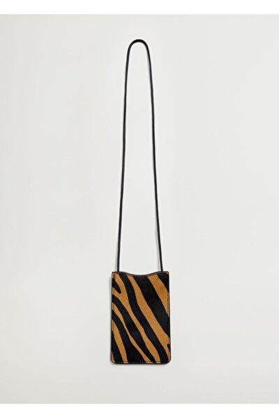 Kadın Kahverengi Desenli Deri Mini Çanta