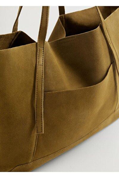 Kadın Haki Deri Shopper Çanta
