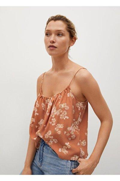 Kadın Kahverengi Çiçekli Üst Bluz