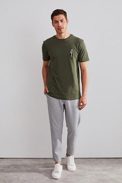 Unisex Haki Bugs Bunny  Nakışlı T-shirt