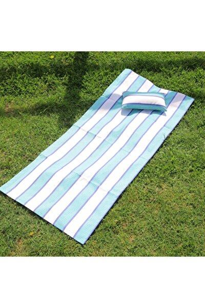 Mini Yastıklı Plaj Ve Piknik Örtüsü / Kumlanmayan - Su Geçirmeyen Kumaş 150 X 65 Cm