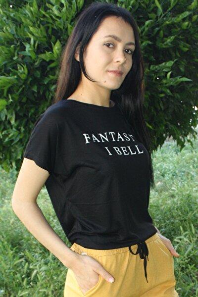 Kadın Siyah Fantastic Baskılı Salaş T-shirt