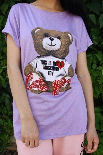 Kadın Lila Ayıcık Baskılı Salaş T-shirt
