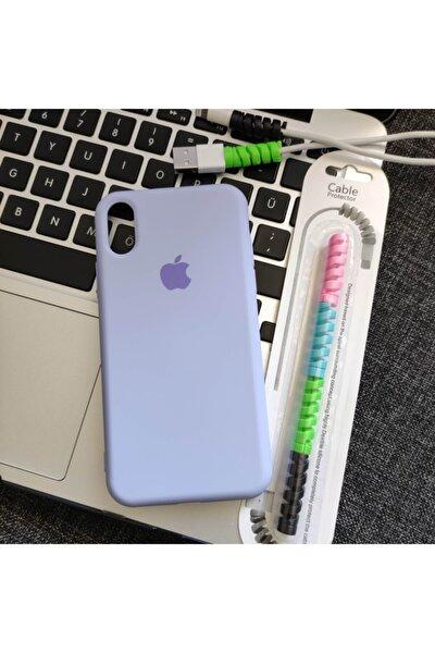 Iphone X Veya Xs Uyumlu Logolu Lansman Kılıf + Kablo Koruyucu