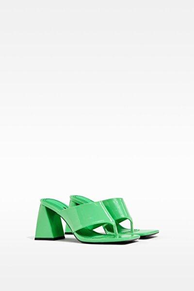 Kadın Yeşil Blok Topuklu Sandalet