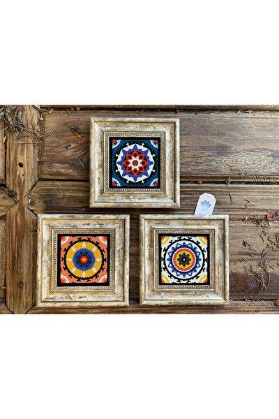 Çerçeveli Taş Tablo 20x20 Cm 3 Lü Set Renkli Desenler Color Tile