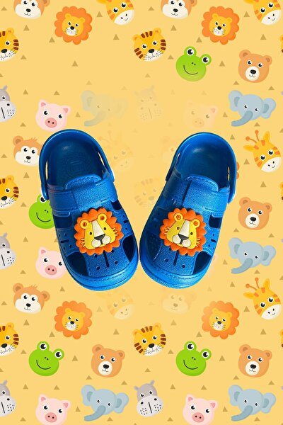 Çocuk Mavi Happy Lion Kids Sandalet Bilekli Terlik