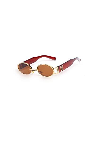 Oval Minimal Güneş Gözlüğü - Kahverengi Cam