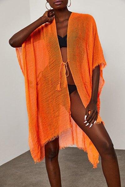 Kadın Turuncu Yanı Yırtmaçlı Bürümcük Kumaş Pareo 1YZK4-11827-11