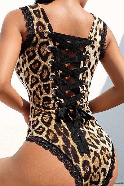 Sırt Detaylı Leopar Body Gecelik Iç Giyim