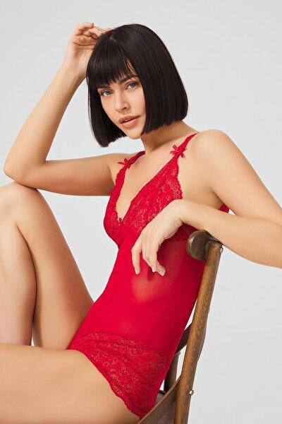 Kadın Kırmızı Çıtçıtlı Dantelli Transparan  Bodysuit