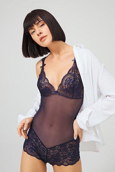 Kadın Lacivert Çıtçıtlı Dantelli Transparan Fantezi Bodysuit