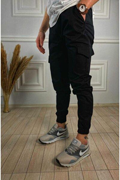 Erkek Slimfit Beli Lastikli Siyah Kargo Pantolon