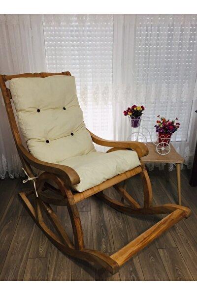 Gürgen Ağacı Sallanan Sandalye Kalın Minderli