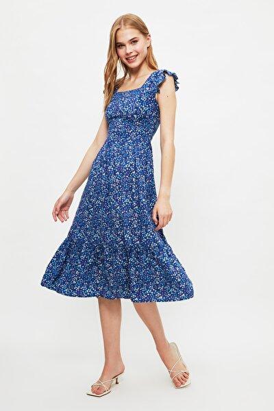 Lacivert Çiçek Desenli Elbise TWOSS20EL3331