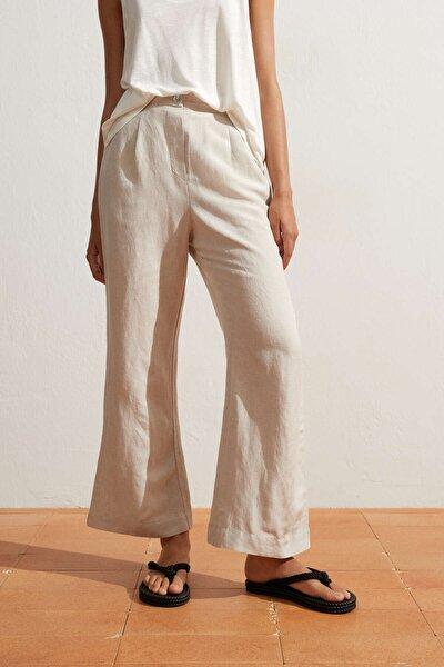 Kadın Bej Keten Flare Pantolon