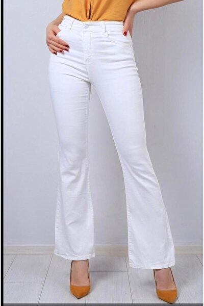 Kadın Beyaz Yüksek Bel Ispanyol Paça Jeans