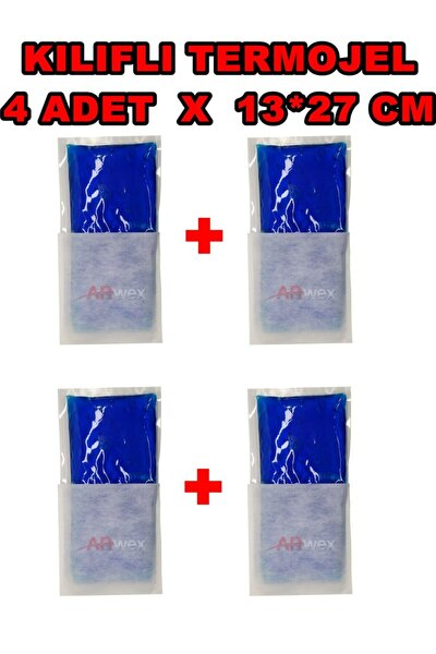 Kılıflı 13 X 27 Cm 4 Adet Orta Boy Termojel Sıcak Soğuk Termo Jel Kompres Buz Jel Termojel