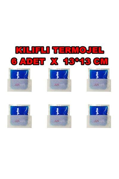 Kılıflı 13 X 13 Cm 6 Adet Küçük Boy Termojel Sıcak Soğuk Termo Jel Kompres Buz Jel Termojel