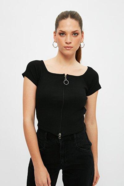 Siyah Fermuar Detaylı Fitilli Örme Bluz TWOSS21BZ1843