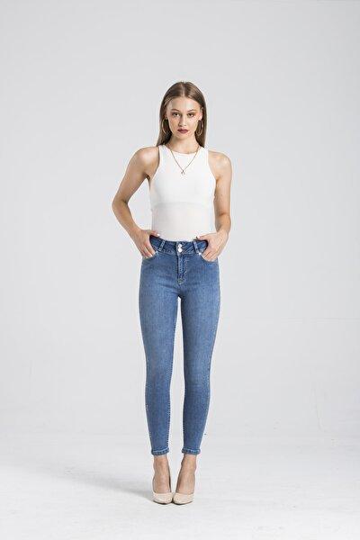 Modafaf Kadın Yüksek Bel Jean Skinny Fit Taş Detay Kot Pantolon Mavi Mira 5730