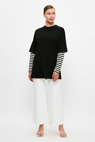 Siyah Renk Bloklu İçten T-shirt Çıkmalı Örme Tesettür Tunik TCTSS21TN0348