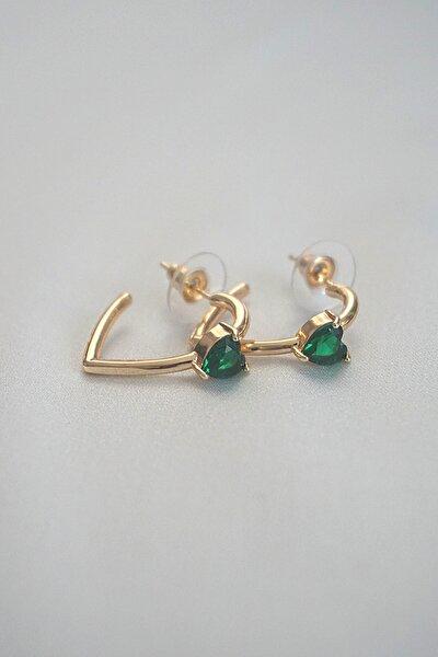 Kadın Kalp Model Yeşil Zirkon Taşlı 24 Ayar Altın Kaplama Halka Küpe