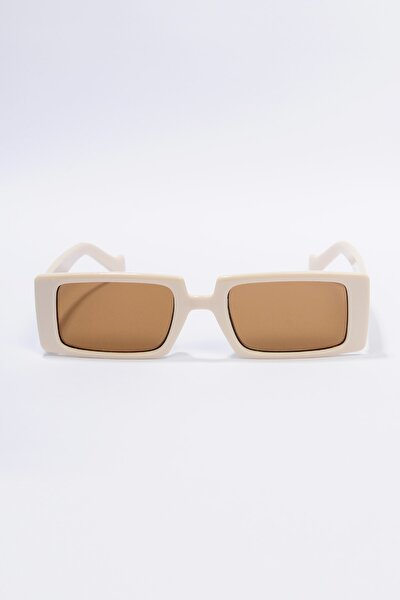 2.ürün 1tl Kadın Krem Dikdörtgen Güneş Gözlüğü