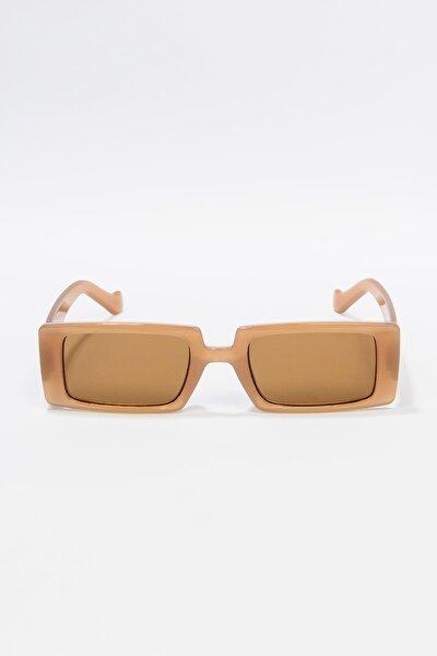 Kadın Karamel Dikdörtgen Güneş Gözlüğü