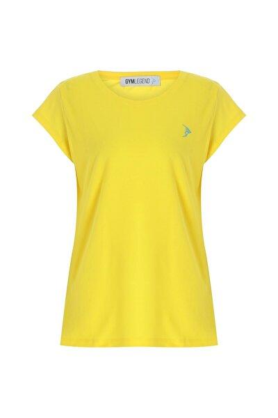 Kadın Sarı Pike Kısa Kollu Basic Tişört