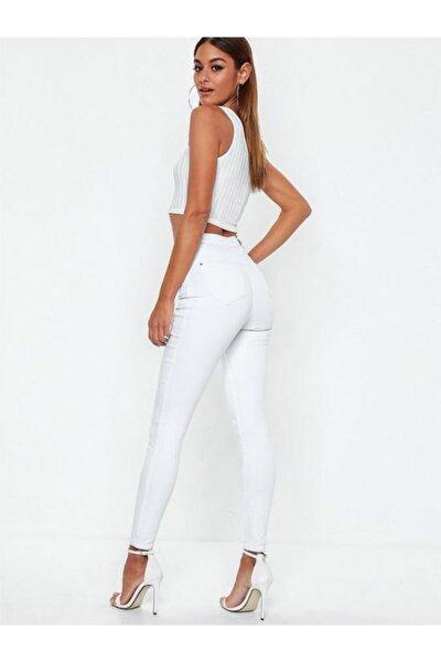 Kadın Beyaz Yüksek Bel Düz Jeans