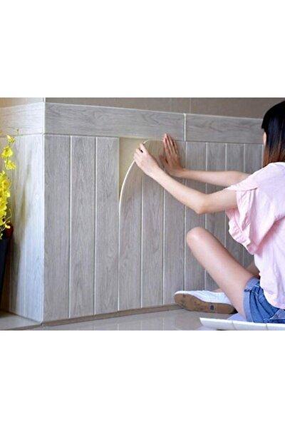 Krem Ahşap Lambiri 3d Kendinden Yapışkanlı Duvar Kağıdı Duvar Paneli